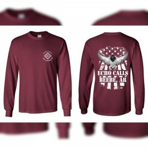 Maroon Mallard Flag Long Sleeve Echo Duck Calls T-Shirt